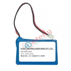 3.7V 2000mAh Lithium Ion Prismatic Battery Pack with 2 pin connector ETEILY