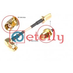 RP SMA(M ) R/A Connector to RP SMA (F) B/H Connector with RG58 Cable
