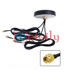 GSM / GPS / Wi-Fi Combo Adhesive Screwable Puck Antenna with RG 174 Cable | SMA Male Connector - ETEILY Technology