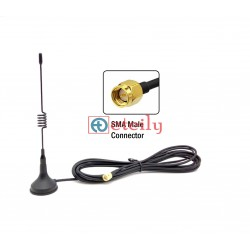 433MHz 3dBi Spring Magnetic Antenna with RG174 Cable | SMA Male Connector