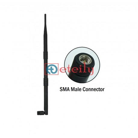 2.4 GHz 9dBi Rubber Duck Antenna with SMA Male Movable ETEILY