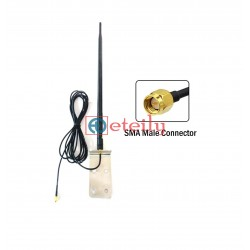 GSM 12dBi Rubber Duck Antenna with RG 58 Cable | SMA Male Connector (with L Bracket) ETEILY