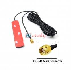 GSM 3dBi Adhesive Antenna with RG174 Cable | RP SMA Male Connector