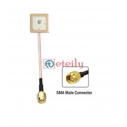 GPS Internal Antenna 15*15 with RG178 Cable   SMA Male St. Connector - ETEILY TECHNOLOGIES