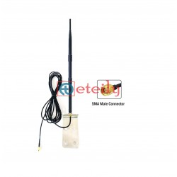 868 MHz 12dBi Rubber Duck Antenna with RG58 Cable | SMA Male Connector (with L Bracket) ETEILY