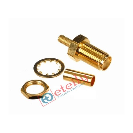 SMA FEMALE B/H RG 316  GOLD PLATED