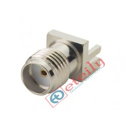 SMA Female Straight Edge PCB Mount Connector (Nickel Plated)  ETEILY
