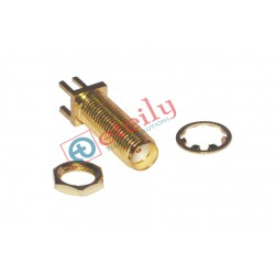 SMA FEMALE B/H EDGE PCB MOUNT 17.5mm WITHOUT NUT & WISHER