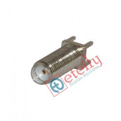 SMA (F) Straight Bulkhead PCB Mount Connector 15mm (Nickel Plated)