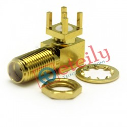 SMA Female R/A Bulkhead PCB Mount 11mm Connector